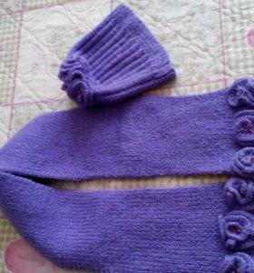 Детские шапка и шарфик, новые