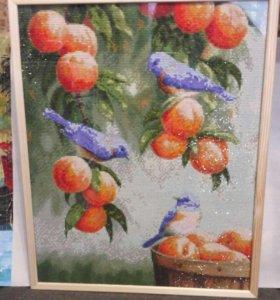"""Картина """" птицы и персики"""" размер 40:50 см."""