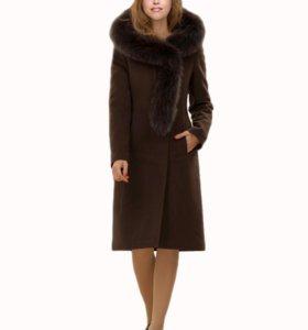 Пальто зимнее, шерсть, кашемир, песец
