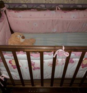 Кроватка-маятник малышам с ящиком