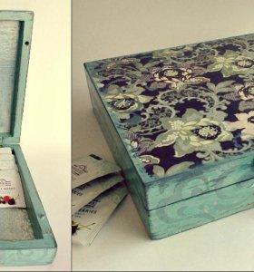 """Шкатулка-чайная коробка """"Цветочные узоры"""""""