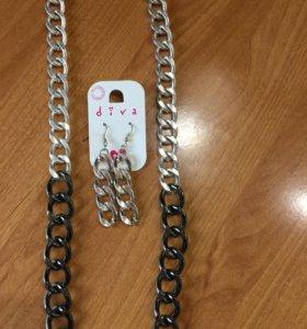 Крупная серебристая цепь 43 см