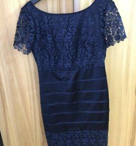 Красивое синее платье 46-48
