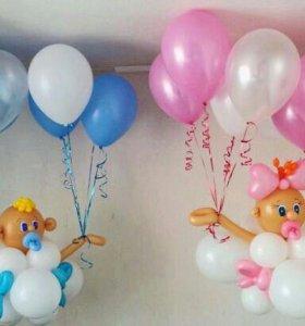 Фигуры из воздушных шаров на свадьбу и на выписку