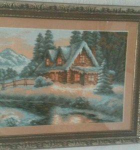 """Вышитая картина """" Домик в горах"""""""