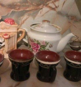 Декоративный чайник и посуда
