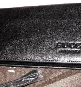 Кожаный мужской клатч портмоне Gucci black новый
