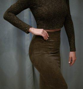 Замшевая юбка-миди новая