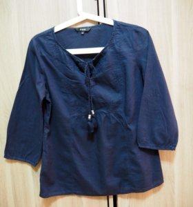 Блузка темно-синяя. 42-44. Хлопок