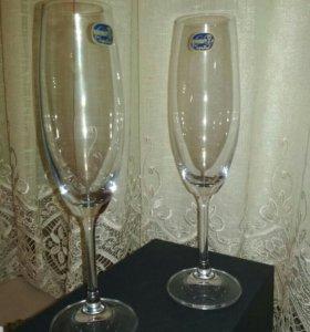 Бокалы для шампанского вина 2 штуки богемия