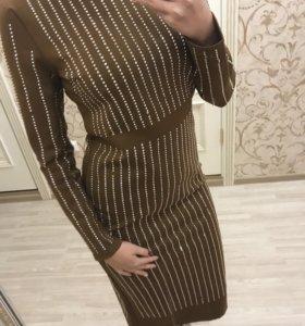 Платье длинное стразы GUCCI