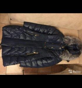 Зимнее пальто с мехом чернобурки!
