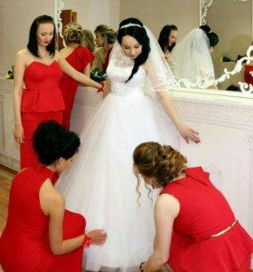 Свадебное платье, фата, подъюбник с 3-мя кольцами
