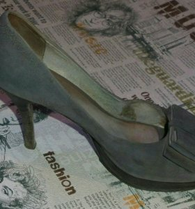 Туфли натур. замша+ кожа, б/у.