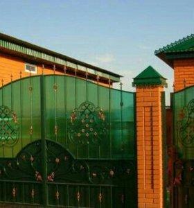 Ворота с поликарбонатом, кованые