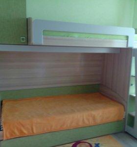 """Детская 2- х ярусная кровать """" Киви"""" + два матраса"""