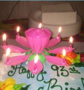 Музыкальная свеча для торта Лотос