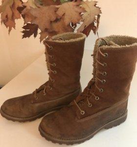 Сапоги ботинки теплые Timberland р. 34,5 натур.кож