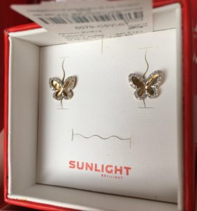 Золотые серьги с бриллиантами бабочки Sunlight