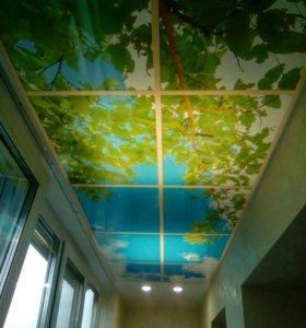 Натяжной потолок на лоджию 6м2