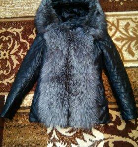 Куртка коженая с чернобуркой