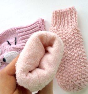 Шапка chicco варежки accessories розовые