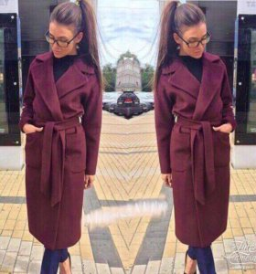 Бордовое пальто длинное (S)