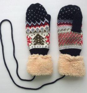 Новые Варежки тёплые шарф женские