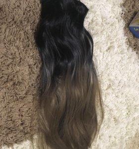 Волосы на заколках новые 55 см , хорошего качества