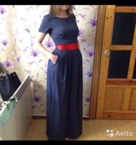 Новое синее платье в горошек