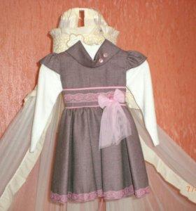 Продам платье, водолазку на девочку рост 86