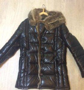 Зимняя кожаная куртка с мехом(енот)