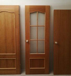 Двери деревянные, массив (3 шт. с фурнитурой)