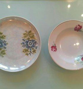 Посуда тарелки блюдца разные для дома и дачи