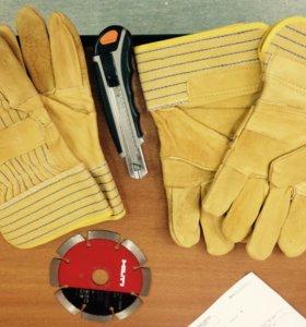 Перчатки рабочие кожаные комбинированные