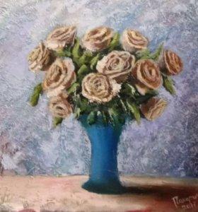 """Картина маслом на холсте """"розы"""""""