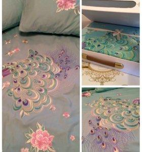 Комплект постельного белья шёлковая вышивка