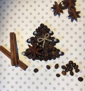 Новогодний сувенир-Магнит Ёлочка из кофейных зерен