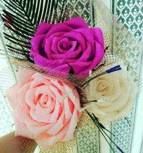 Букет из больших роз с конфетами/Ручная работа