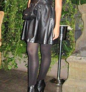 Кожаное платье-сарафан