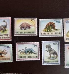 Набор из 8-ми марок из Центральной Африки 1988 г.