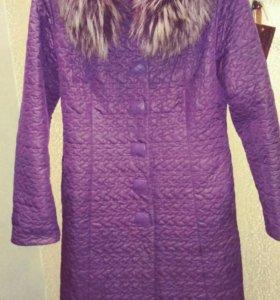 Стеганое фирменное пальто