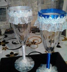 Свадебные бокалы ручная работа