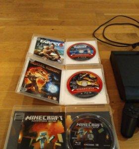 PS3 и 3 игры: Far Cry 3, Minecraft,Mortal combat 9