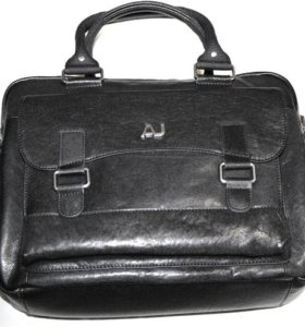 Кожаная сумка портфель -Armani Jeans- black lux