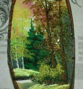 Картины на срезе дерева с гранитный крошкой