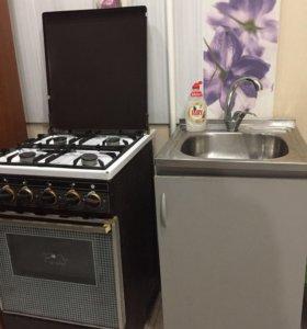Кухонная плита и мойка с тумбой б/у