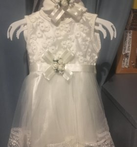 Платье 0-2 месяца  и повязочка