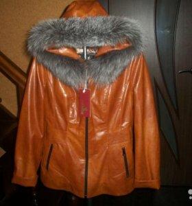 Кожаная зимняя куртка дубленка