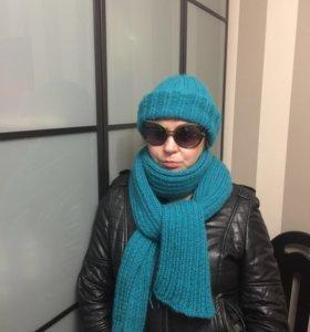 Комплект шапка и шарф (вяжу сама )